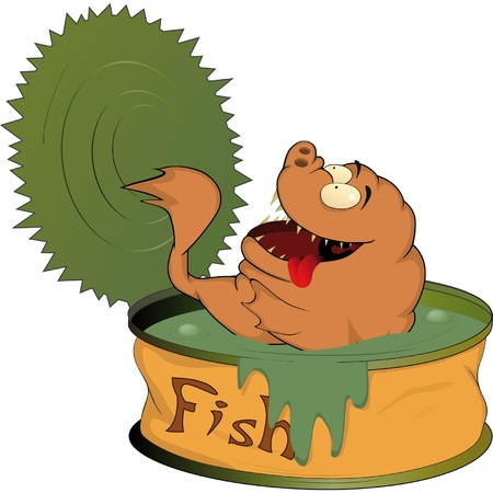 Fish canned food Vector