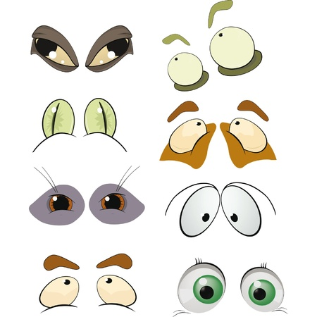 female face closeup: The complete set of the drawn eyes  Cartoon