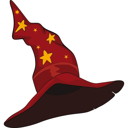 wizard hat: Hat of the wizard. Cartoon