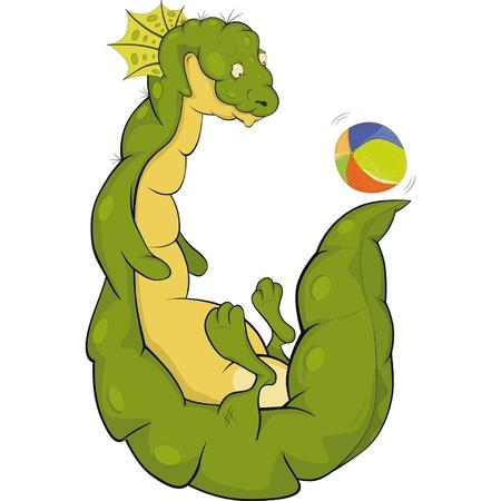 Dragon and a ball.Cartoon Vector