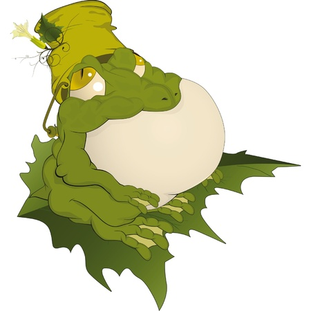 repulsive: Toad on a leaf Cartoon
