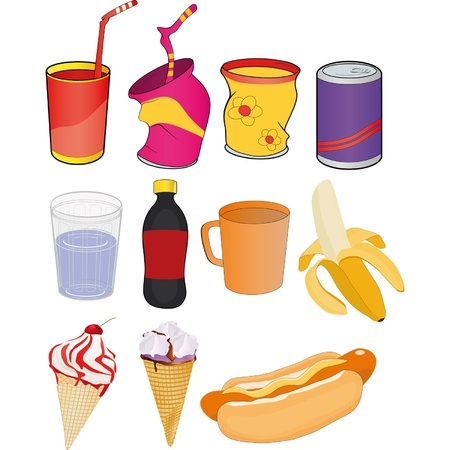 Set banks drinks and products Vector