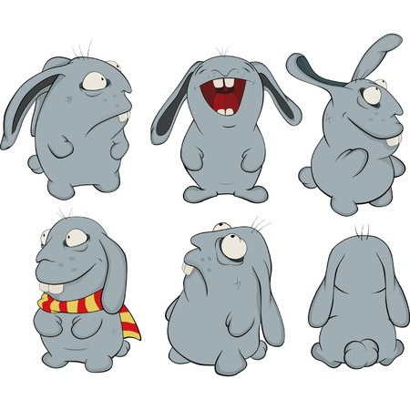 cartoon hare: Clip art  About a blue rabbits