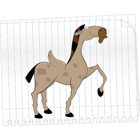 Pegas, horse with wings Drawing in a notebook  Vector