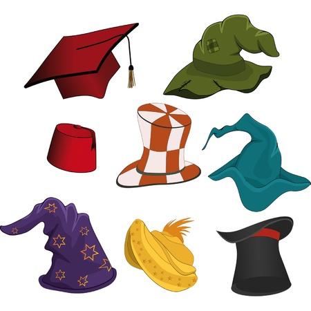 graduacion caricatura: El conjunto completo de sombreros Vectores
