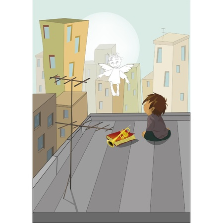 Night in a city the boy and an angel Stock Vector - 13085060