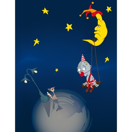 sky lantern: The clown, the moon and a cat Illustration