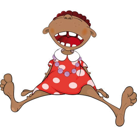squeal: Smiling African American girl. Cartoon