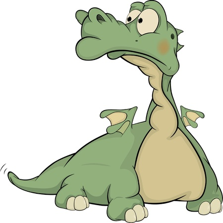 cruel zoo: Kind green dragon.Cartoon