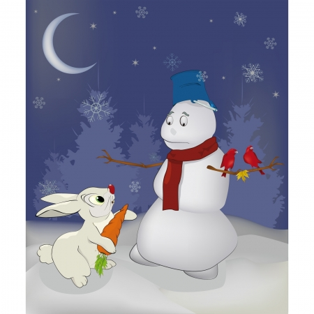 Fairy tale about a rabbit and a snowball Vector