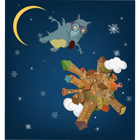 The infant rat flying over a night city Vector