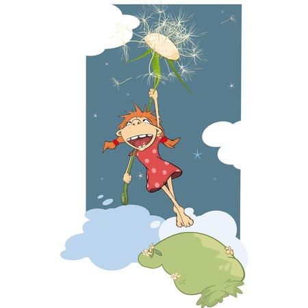 Flight of the girl and dandelion Vector