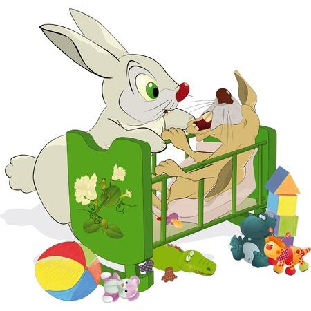 Mamá y no un pequeño conejo obedientes