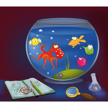 Octopus, an aquarium, and small fishes  Vector