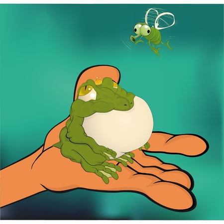 The princess a frog and a fly  Vector
