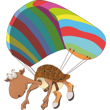 parachute jump: Turtle on the paraclown Illustration