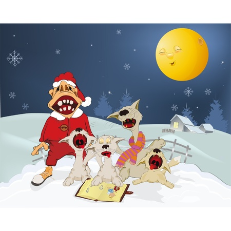 Cats and Santa Claus sing Christmas hymns . Cartoon Vector