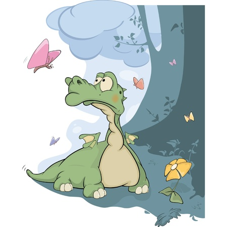 Little dragon and butterflies. Cartoon  Vector