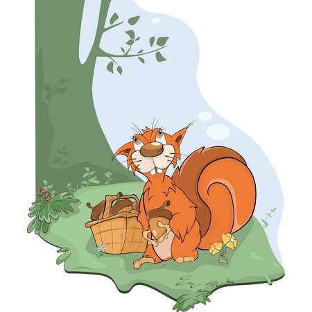 fur trees: The squirrel and acorns. Cartoon Illustration