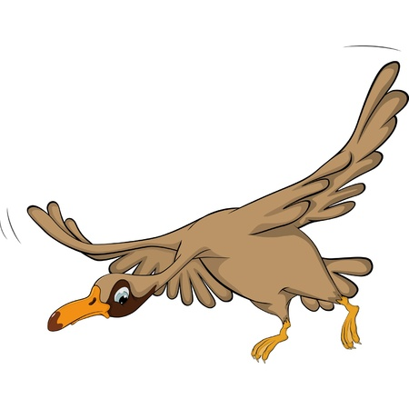 fat bird: Flying goose. Cartoon