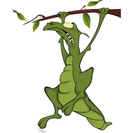 Lizard on a tree branch. Cartoon Vector