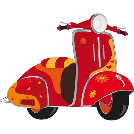 Motor scooter for hippie. Cartoon