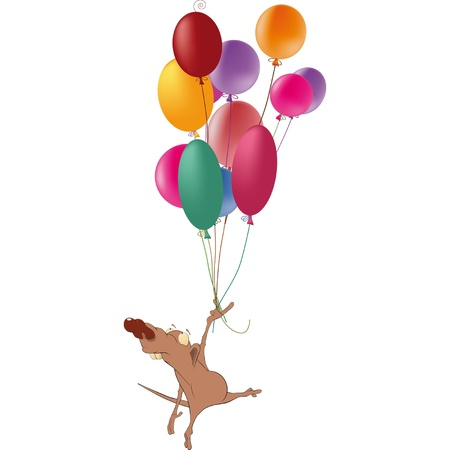 mustached: Rat and multicolored balloons. Cartoon