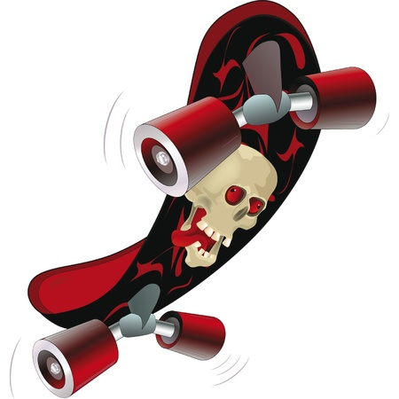 skate board with a skull. Cartoon