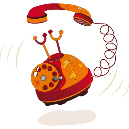 antique telephone: Summer phone. Cartoon