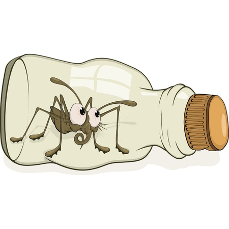 poison bottle: Medicinal small bottle and spider.Cartoon  Illustration