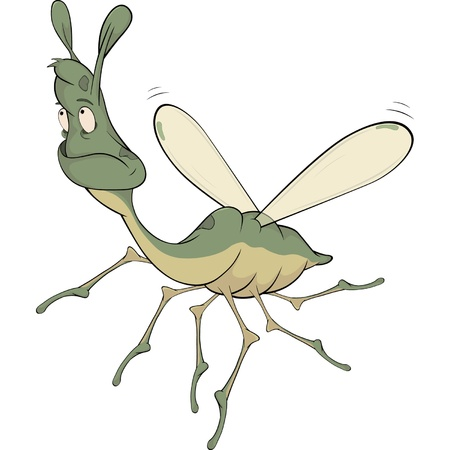 malady: Little green mosquito Cartoon Illustration