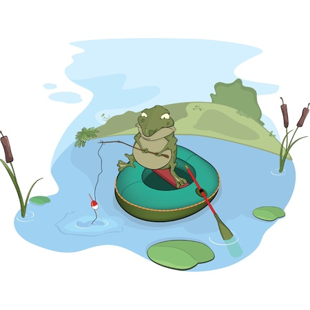 Toad the fisher  Cartoon Vector