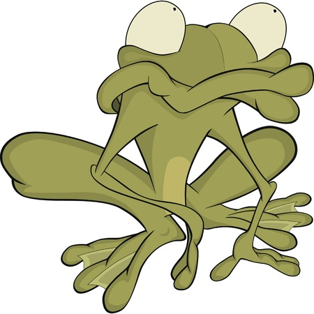 The big green toad . Cartoon Vector
