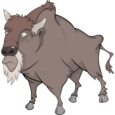 Bison, buffalo. Cartoon Vector