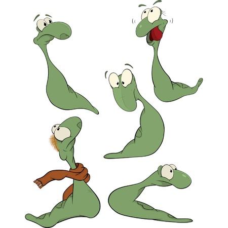 slow worm: Green worm .Clip-art. Cartoon