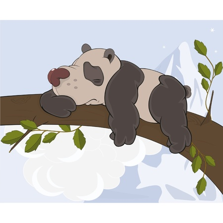 panda cub: The bear  panda sleeps on a tree  Cartoon  Illustration