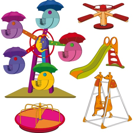 Set the children s swing  Cartoon  Stock Vector - 13423842