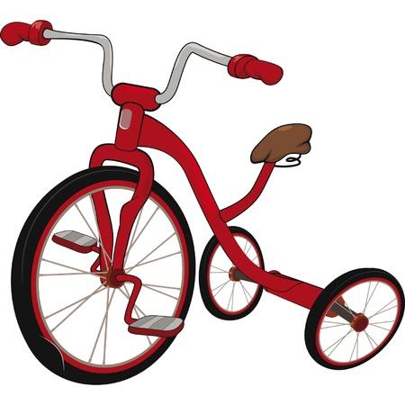 driewieler: Kinderen de rode driewieler Stock Illustratie