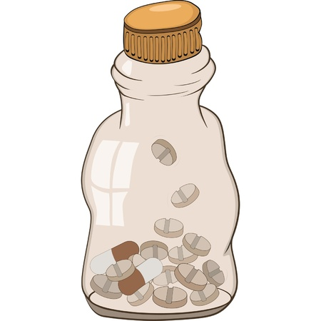 Small bottle with a  tablets Vector