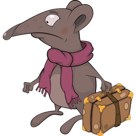 Ratón y una maleta. Dibujos animados