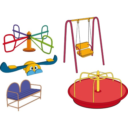 The complete set a children s swing  Cartoon Stock Vector - 13542301