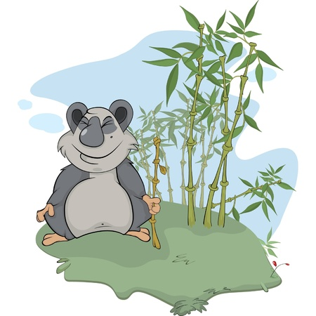 Bear. Panda and bamboo wood. Cartoon Vector