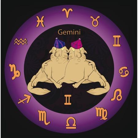 Signos del zodiaco los gemelos Ilustración de vector