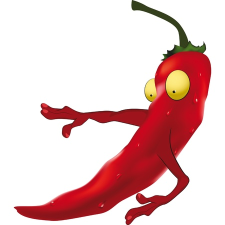 The scared red Chilean pepper. Cartoon Ilustração