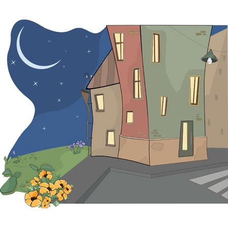 Night city. Cartoon  Vector