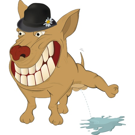 kampfhund: Sehr fröhlich Hund. Karikatur Illustration