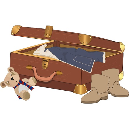 packing suitcase: Valigia con le cose Vettoriali