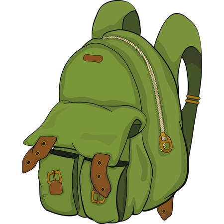 School backpack. Cartoon Illustration