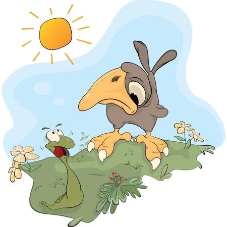 ver de terre cartoon: Worm et le moineau. Une r�union Illustration