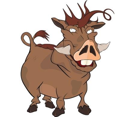 unpleasant smell: Wild boar Cartoon Illustration